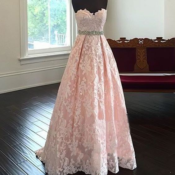 dd694bf03cb7 Pretty Sweetheart Neck Lace Light Pink Long Prom Dresses, Evening  Dresses,Formal Dress,