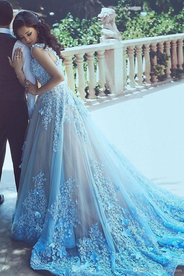 A Line Blue Sleeveless Tulle Wedding Dress 2017 With Chapel Train