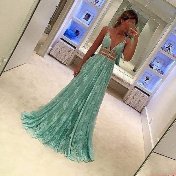 b9eef2c9f065 2017 Custom Charming Mint Green Lace Prom Dress,Sleeveless Evening Gown,Beading  Party Dress,Deep V-Neck Dress