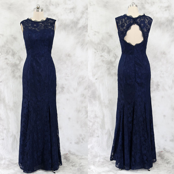 Lace Bridesmaid Dress Long Gown Navy Blue Gowns Simple Dresses