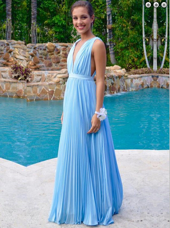 Light Blue Prom Dresses,Chiffon Evening Dress,Simple Prom Gowns,V ...