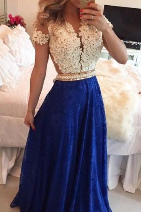 2016 Short Sleeves Lace Long Prom Dresses, Illusion Beaded Party Dresses, White and Blue Pearls Beaded Sheer Formal Evening Gowns, Emerald Green Prom Dress, Lace Prom Dresses