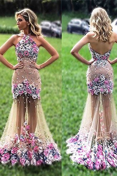 Pretty tulle flowers applique see-through halter long dress,mermaid dress