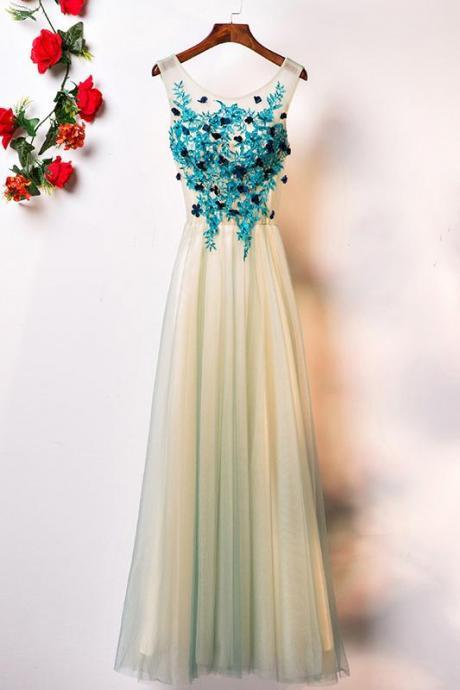 GREEN ROUND NECK TULLE LACE LONG PROM DRESS, GREEN EVENING DRESS