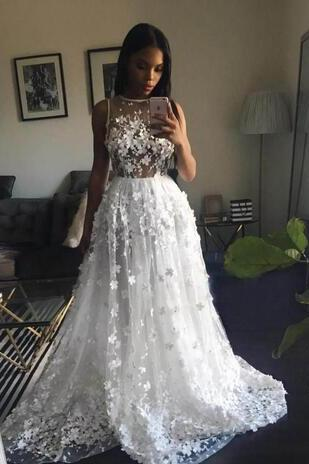 Graceful White A Line Bridal Gowns Sexy See Through Handmade Appliques Sheer Back Wedding Dresses South African Sweep Train