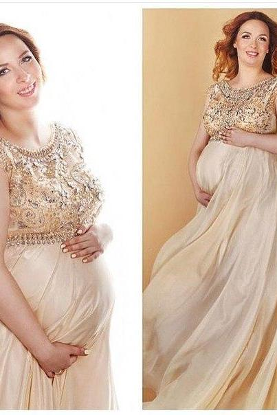 Prom Dresses Sexy Cheap A-line Champagne Beads Pregnant Prom Dress Formal Dress Evening Dress Party Prom Gowns