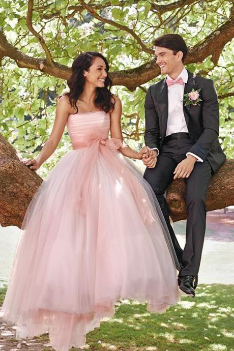 Light Pink Wedding Dress A-line Strapless Tulle Long Wedding Dresses Bridal Gown Wedding Gown